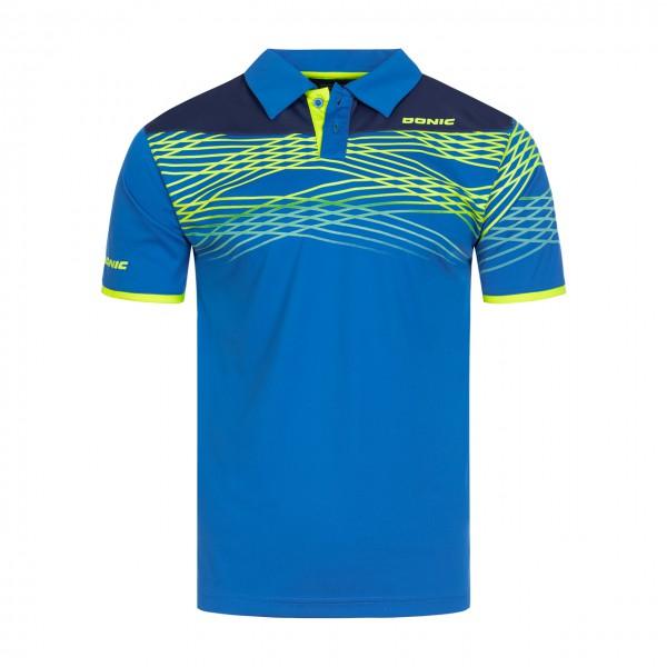 Tischtennis DONIC Poloshirt Clash blau Brust