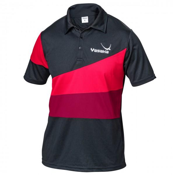 Tischtennis Hemd YASAKA Hemd Castor schwarz/rot