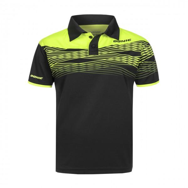 Tischtennis DONIC Poloshirt Clashflex schwarz Brust