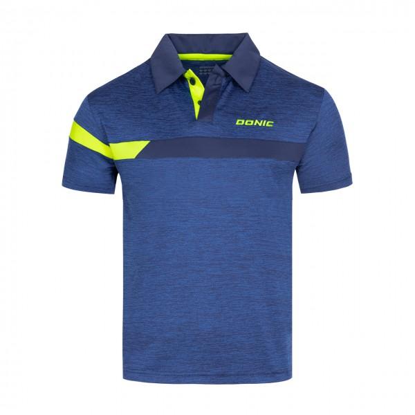 Tischtennis DONIC Poloshirt Stripes blau Brust